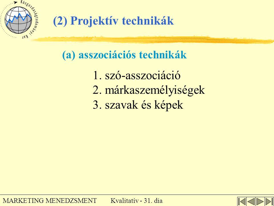 Kvalitatív - 31. dia MARKETING MENEDZSMENT 1. szó-asszociáció 2. márkaszemélyiségek 3. szavak és képek (2) Projektív technikák (a) asszociációs techni