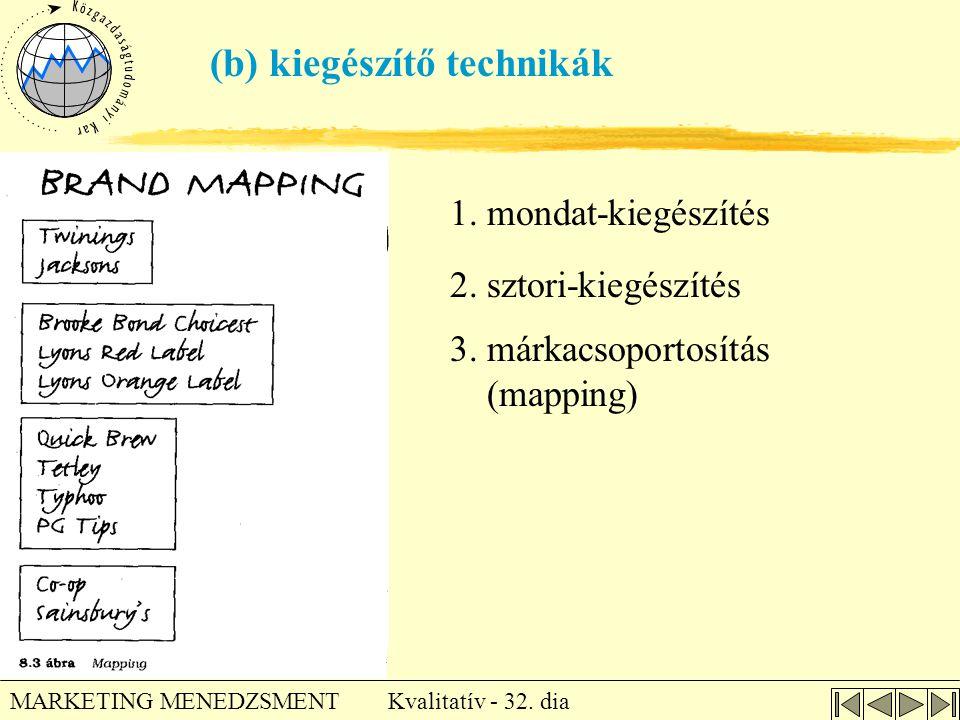Kvalitatív - 32. dia MARKETING MENEDZSMENT (b) kiegészítő technikák 1. mondat-kiegészítés 2. sztori-kiegészítés 3. márkacsoportosítás (mapping)