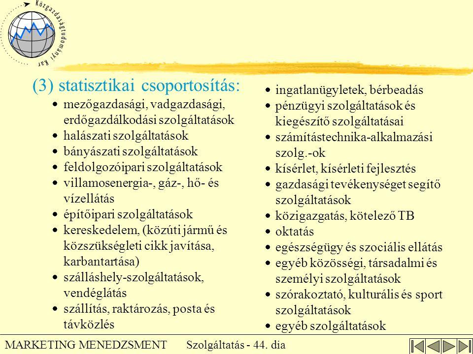 Szolgáltatás - 44. dia MARKETING MENEDZSMENT (3) statisztikai csoportosítás:  mezőgazdasági, vadgazdasági, erdőgazdálkodási szolgáltatások  halászat