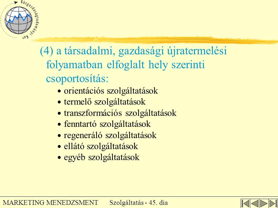 Szolgáltatás - 45. dia MARKETING MENEDZSMENT (4) a társadalmi, gazdasági újratermelési folyamatban elfoglalt hely szerinti csoportosítás:  orientáció