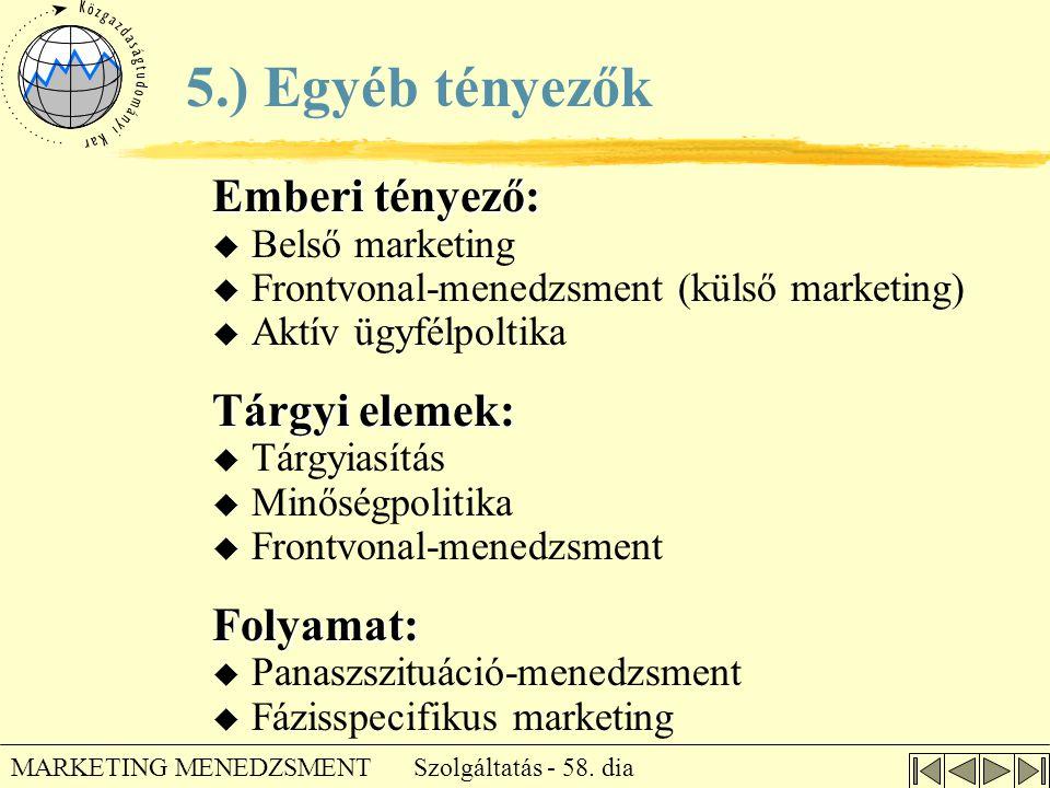 Szolgáltatás - 58. dia MARKETING MENEDZSMENT Emberi tényező:  Belső marketing  Frontvonal-menedzsment (külső marketing)  Aktív ügyfélpoltika Tárgyi