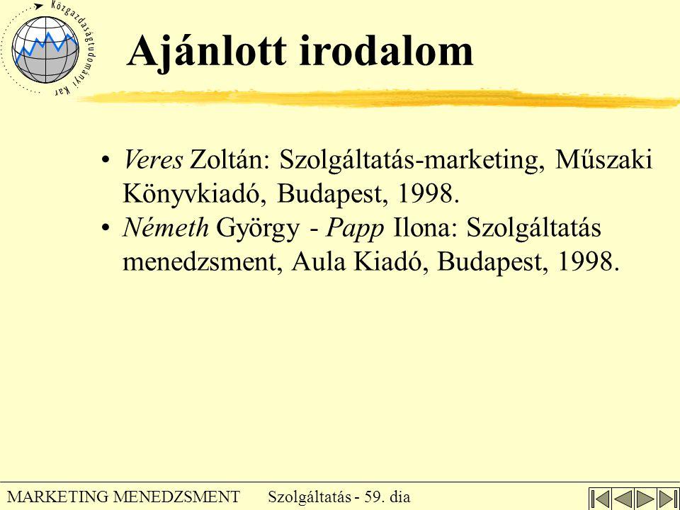 Szolgáltatás - 59. dia MARKETING MENEDZSMENT •Veres Zoltán: Szolgáltatás-marketing, Műszaki Könyvkiadó, Budapest, 1998. •Németh György - Papp Ilona: S