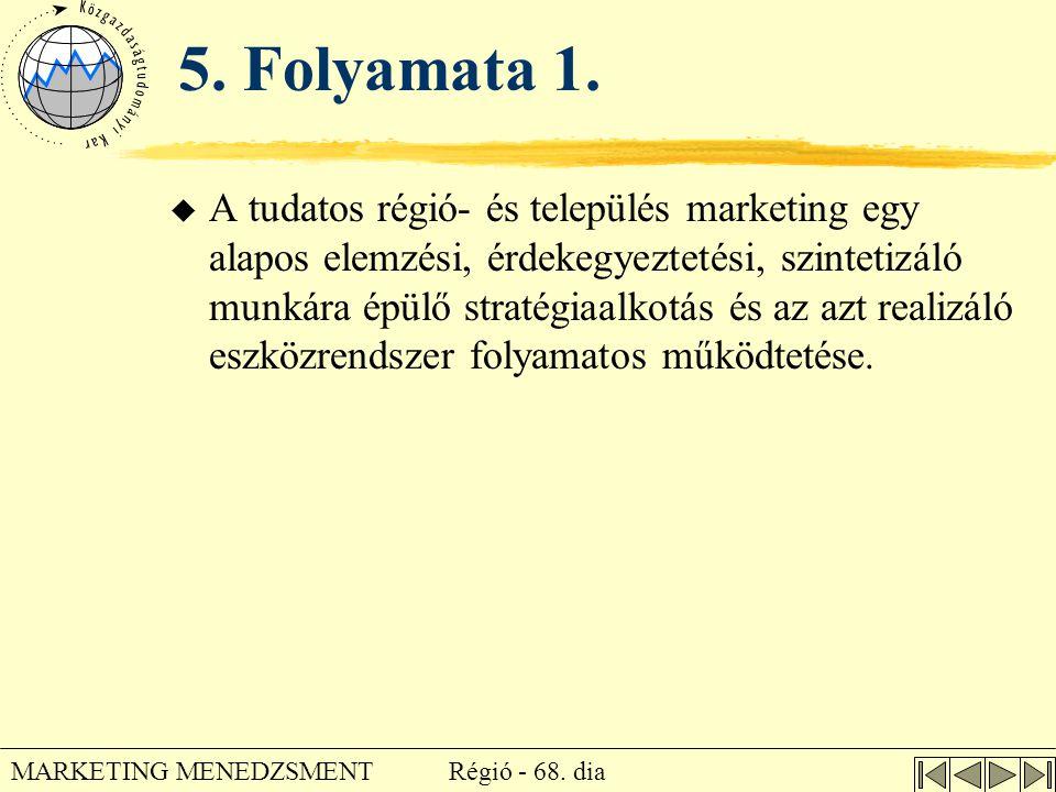 Régió - 68. dia MARKETING MENEDZSMENT 5. Folyamata 1. u A tudatos régió- és település marketing egy alapos elemzési, érdekegyeztetési, szintetizáló mu