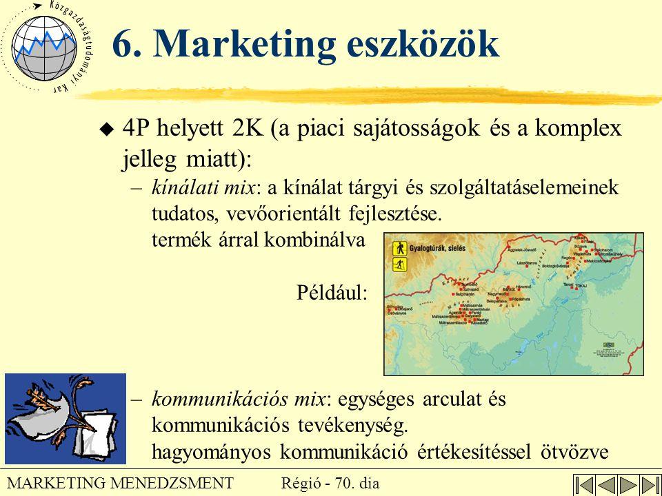 Régió - 70. dia MARKETING MENEDZSMENT 6. Marketing eszközök u 4P helyett 2K (a piaci sajátosságok és a komplex jelleg miatt): –kínálati mix: a kínálat
