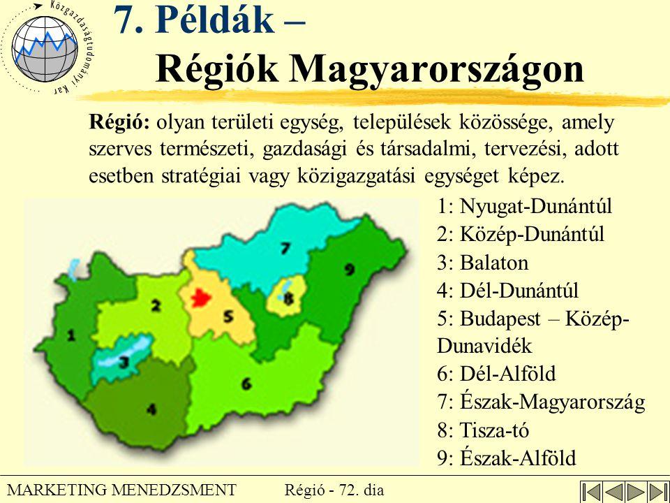 Régió - 72. dia MARKETING MENEDZSMENT 7. Példák – Régiók Magyarországon 1: Nyugat-Dunántúl 2: Közép-Dunántúl 3: Balaton 4: Dél-Dunántúl 5: Budapest –