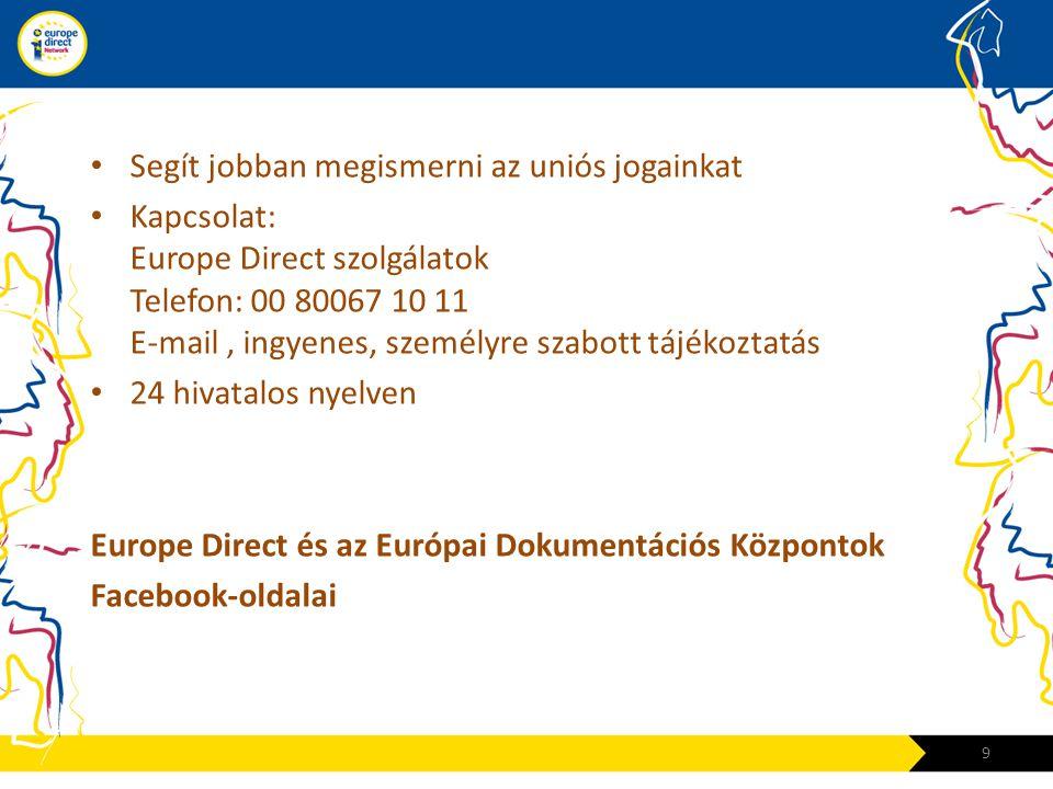 • Segít jobban megismerni az uniós jogainkat • Kapcsolat: Europe Direct szolgálatok Telefon: 00 80067 10 11 E-mail, ingyenes, személyre szabott tájékoztatás • 24 hivatalos nyelven Europe Direct és az Európai Dokumentációs Központok Facebook-oldalai 9