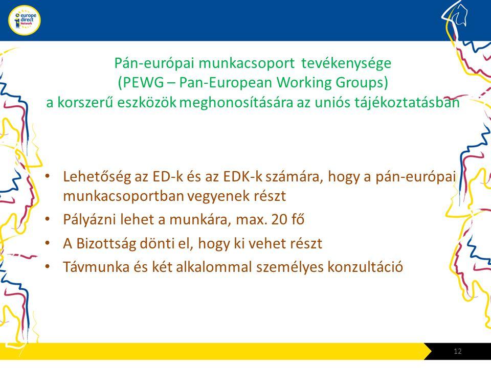 Pán-európai munkacsoport tevékenysége (PEWG – Pan-European Working Groups) a korszerű eszközök meghonosítására az uniós tájékoztatásban • Lehetőség az