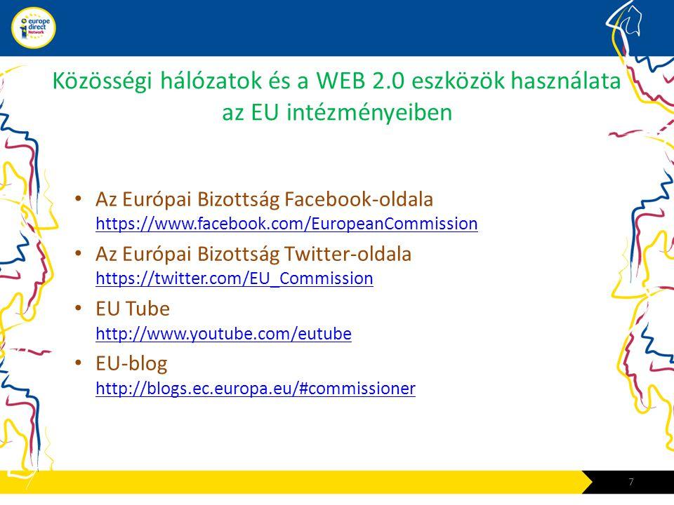 Közösségi hálózatok és a WEB 2.0 eszközök használata az EU intézményeiben • Az Európai Bizottság Facebook-oldala https://www.facebook.com/EuropeanComm