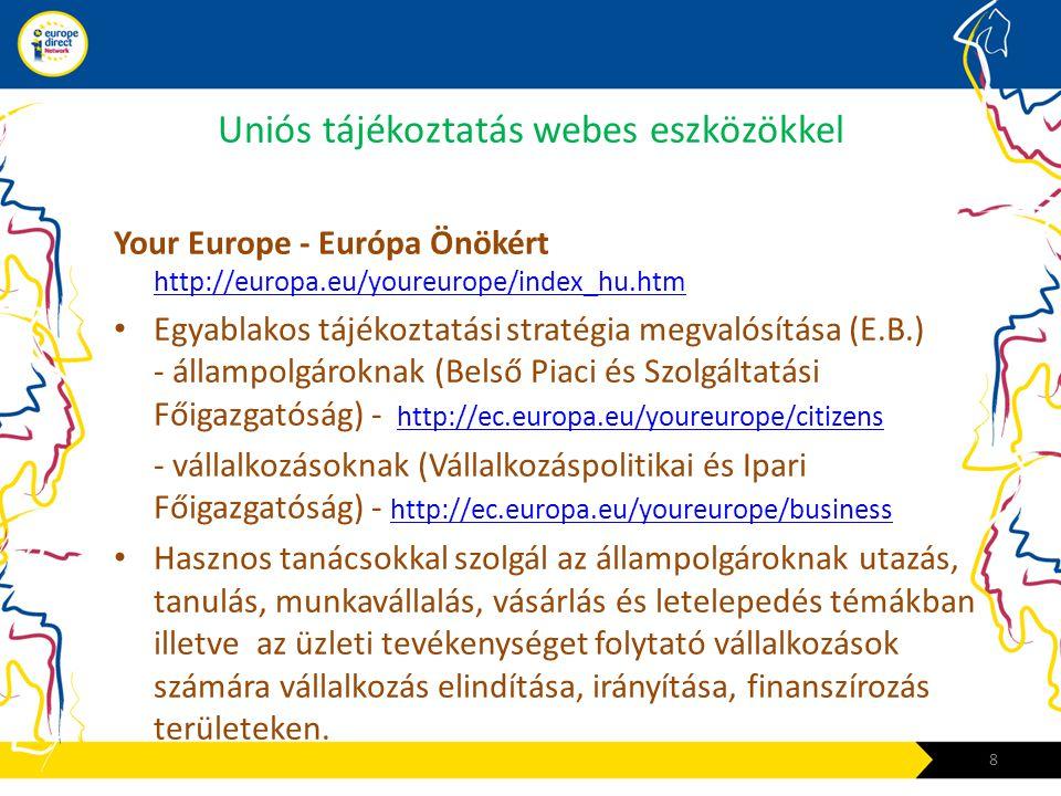 Uniós tájékoztatás webes eszközökkel Your Europe - Európa Önökért http://europa.eu/youreurope/index_hu.htm http://europa.eu/youreurope/index_hu.htm •