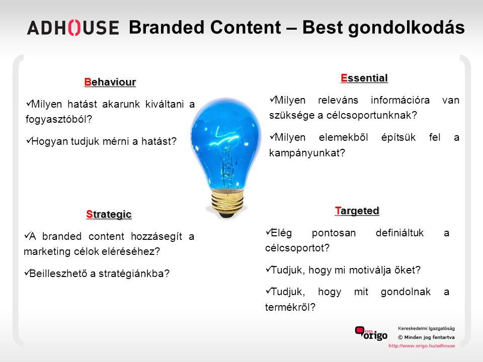 Branded Content – Best gondolkodás Behaviour  Milyen hatást akarunk kiváltani a fogyasztóból.