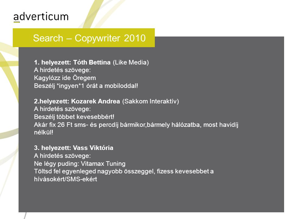 Search – Copywriter 2010 1.