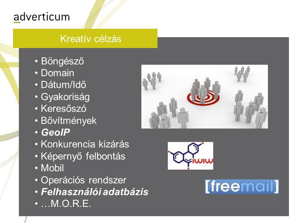 Kreatív célzás • Böngésző • Domain • Dátum/Idő • Gyakoriság • Keresőszó • Bővítmények • GeoIP • Konkurencia kizárás • Képernyő felbontás • Mobil • Operációs rendszer • Felhasználói adatbázis • …M.O.R.E.