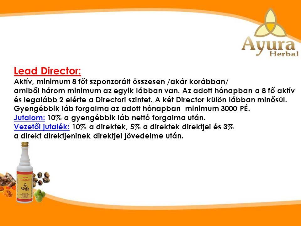 SZ TE D1 D3 D5 D4 D8 D7 D6 D2 Visszatérítési szintek Lead Director L. Director Director Kisebbik láb 3000 PÉ.