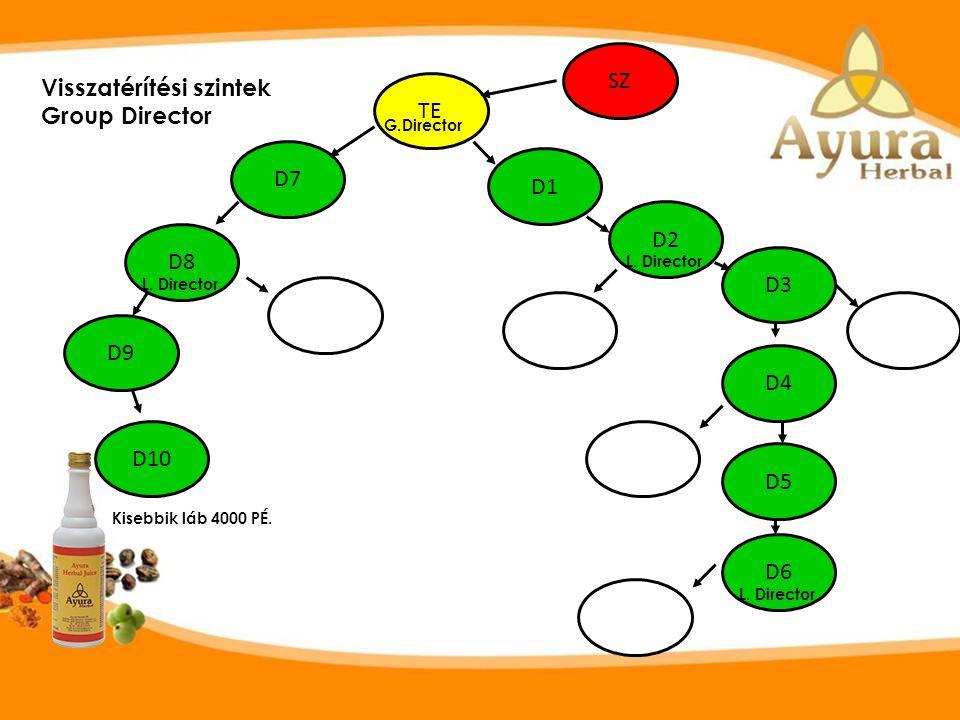 Lead Director: Aktív, minimum 8 főt szponzorált összesen /akár korábban/ amiből három minimum az egyik lábban van. Az adott hónapban a 8 fő aktív és l