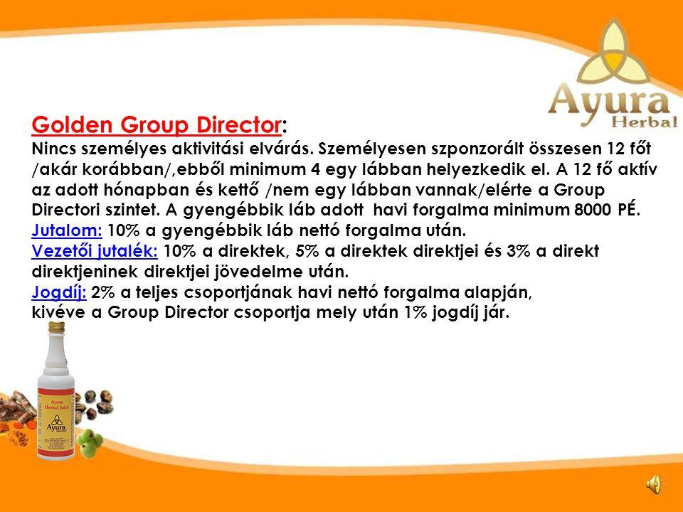 Visszatérítési szintek Golden Group Director SZ D1 TE D5 D2 D3 D4 D6 D8 D7 D10 D11 D9 D12 Group Director Golden Group Director Kisebbik láb 8000 PÉ.