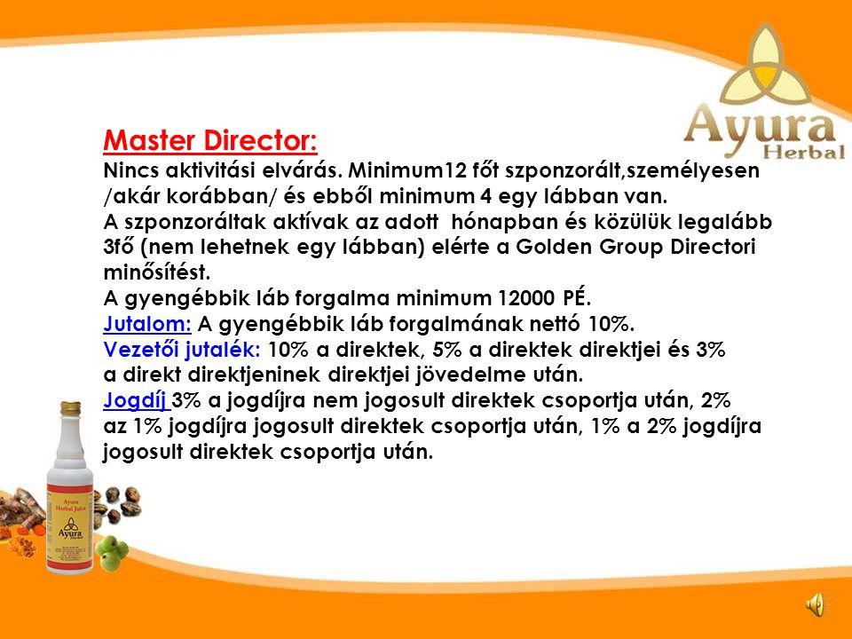 Visszatérítési szintek Master Director SZ TE D1 D2 D3 D4 D5 D6 D7 D8 D9 D10 D12 D11 Master Director Golden Group Director Kisebbik láb 12000 PÉ.