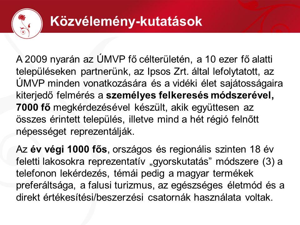 Közvélemény-kutatások A 2009 nyarán az ÚMVP fő célterületén, a 10 ezer fő alatti településeken partnerünk, az Ipsos Zrt.
