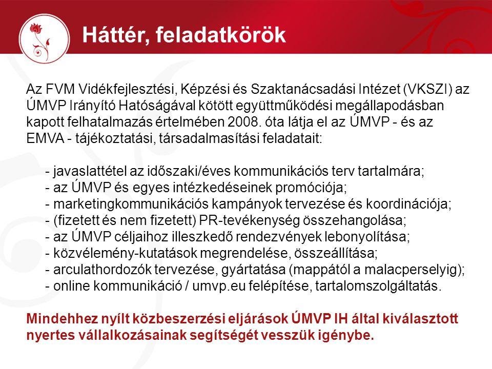 Háttér, feladatkörök Az FVM Vidékfejlesztési, Képzési és Szaktanácsadási Intézet (VKSZI) az ÚMVP Irányító Hatóságával kötött együttműködési megállapodásban kapott felhatalmazás értelmében 2008.