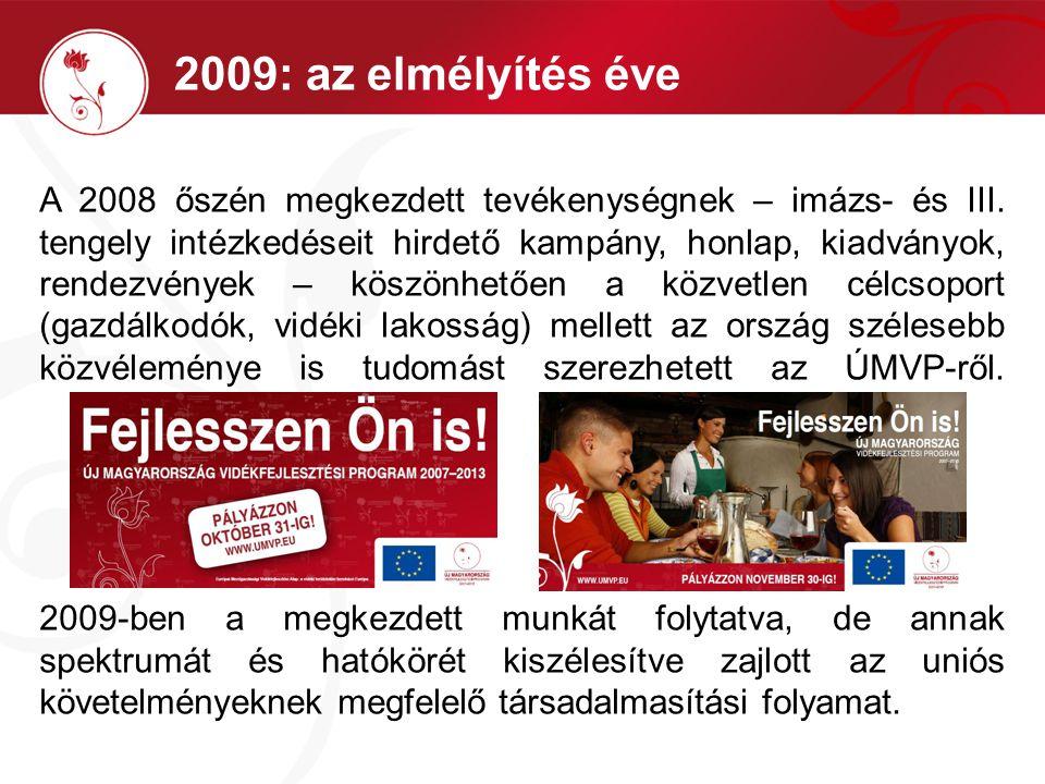 2009: az elmélyítés éve A 2008 őszén megkezdett tevékenységnek – imázs- és III.