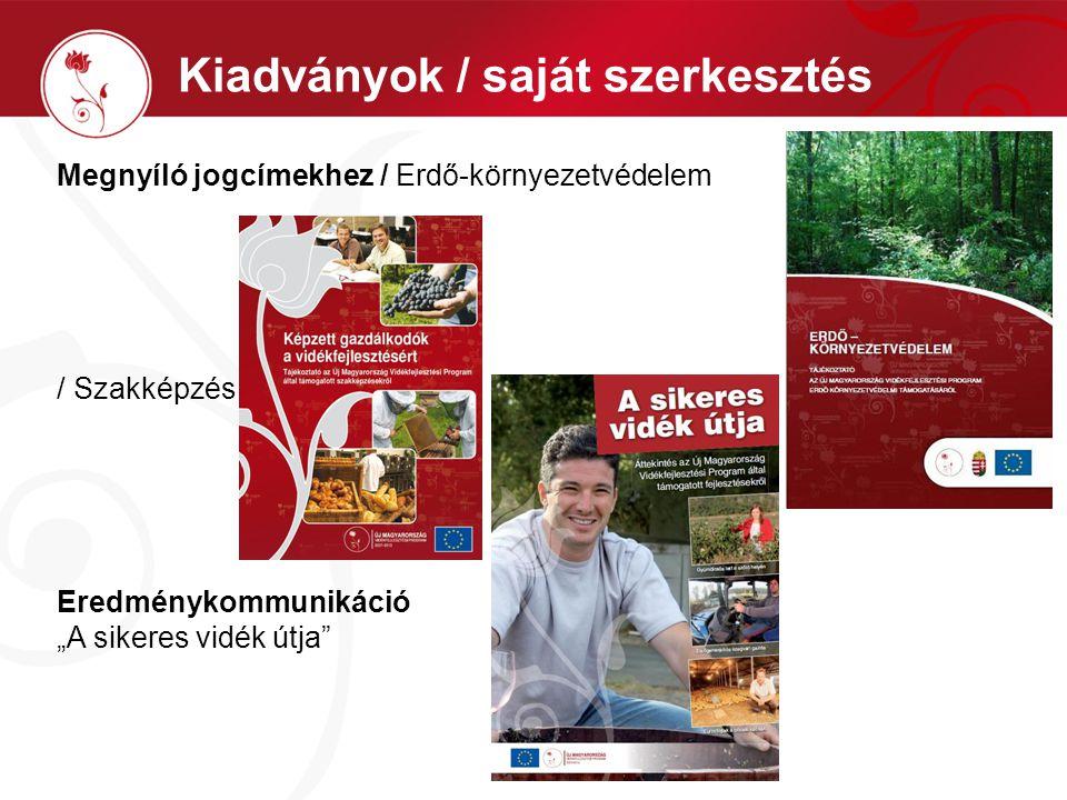 """Kiadványok / saját szerkesztés Megnyíló jogcímekhez / Erdő-környezetvédelem / Szakképzés Eredménykommunikáció """"A sikeres vidék útja"""
