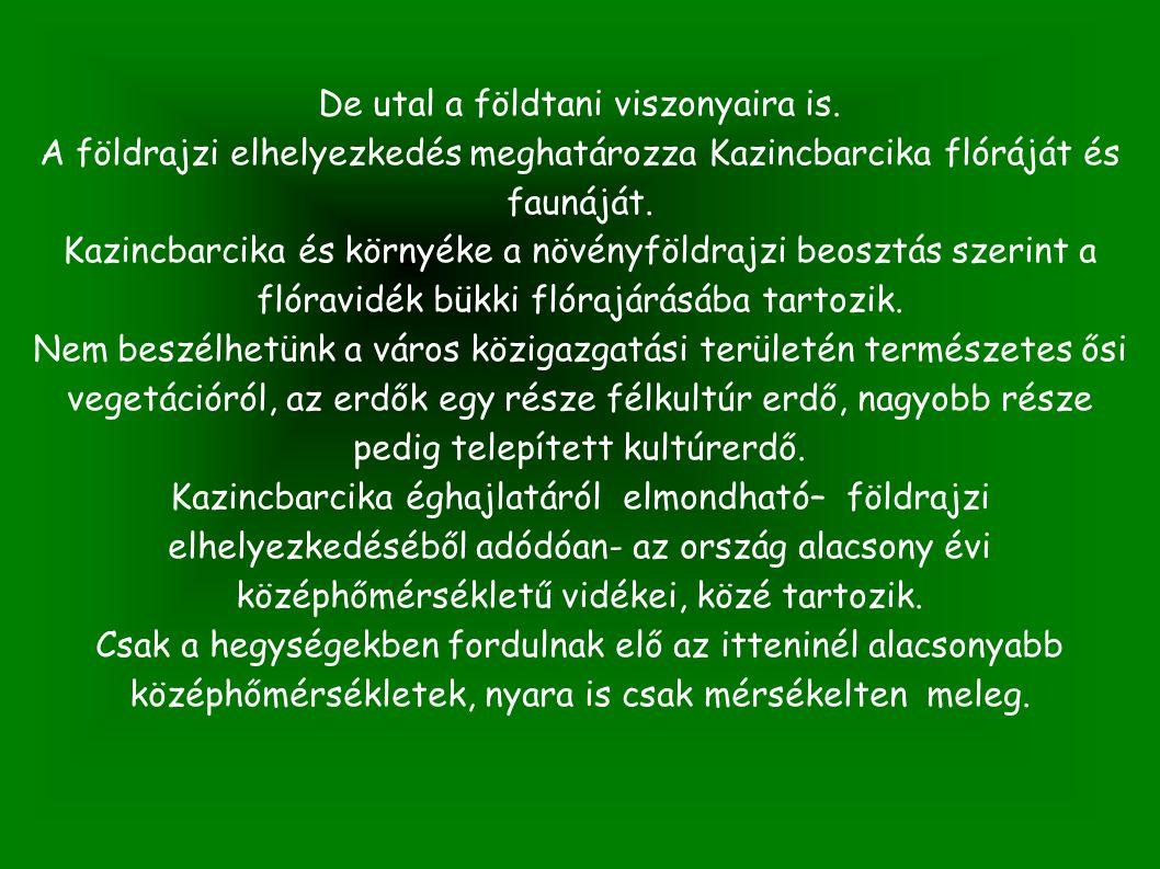 De utal a földtani viszonyaira is. A földrajzi elhelyezkedés meghatározza Kazincbarcika flóráját és faunáját. Kazincbarcika és környéke a növényföldra