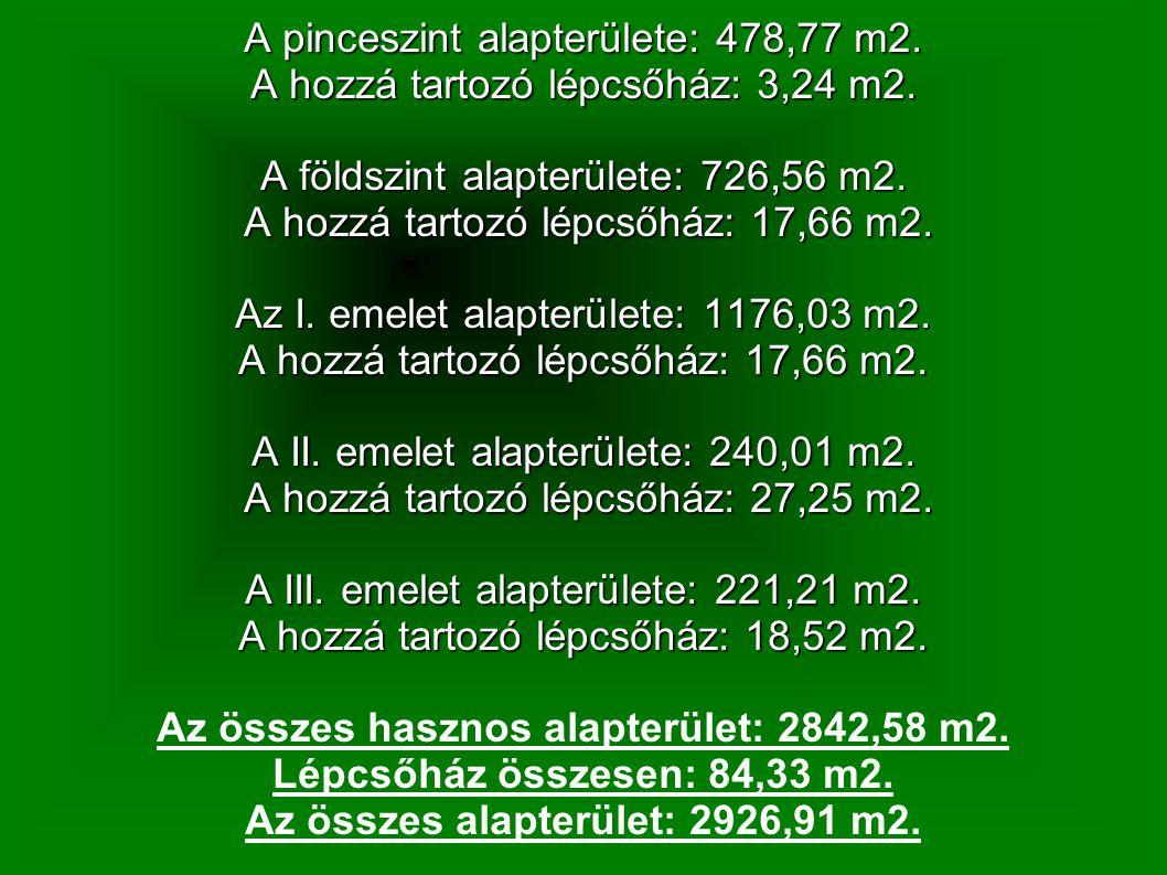 A pinceszint alapterülete: 478,77 m2. A hozzá tartozó lépcsőház: 3,24 m2. A földszint alapterülete: 726,56 m2. A hozzá tartozó lépcsőház: 17,66 m2. A