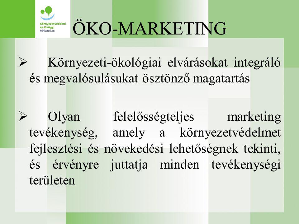 ÖKO-MARKETING  Környezeti-ökológiai elvárásokat integráló és megvalósulásukat ösztönző magatartás  Olyan felelősségteljes marketing tevékenység, amely a környezetvédelmet fejlesztési és növekedési lehetőségnek tekinti, és érvényre juttatja minden tevékenységi területen