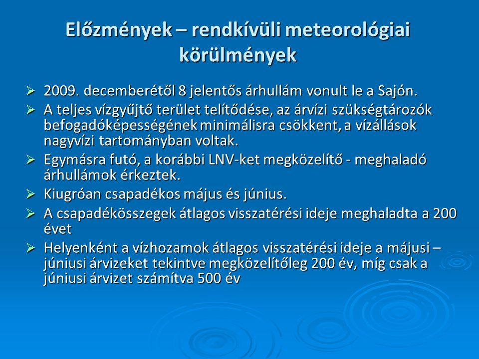 Előzmények – rendkívüli meteorológiai körülmények  2009. decemberétől 8 jelentős árhullám vonult le a Sajón.  A teljes vízgyűjtő terület telítődése,