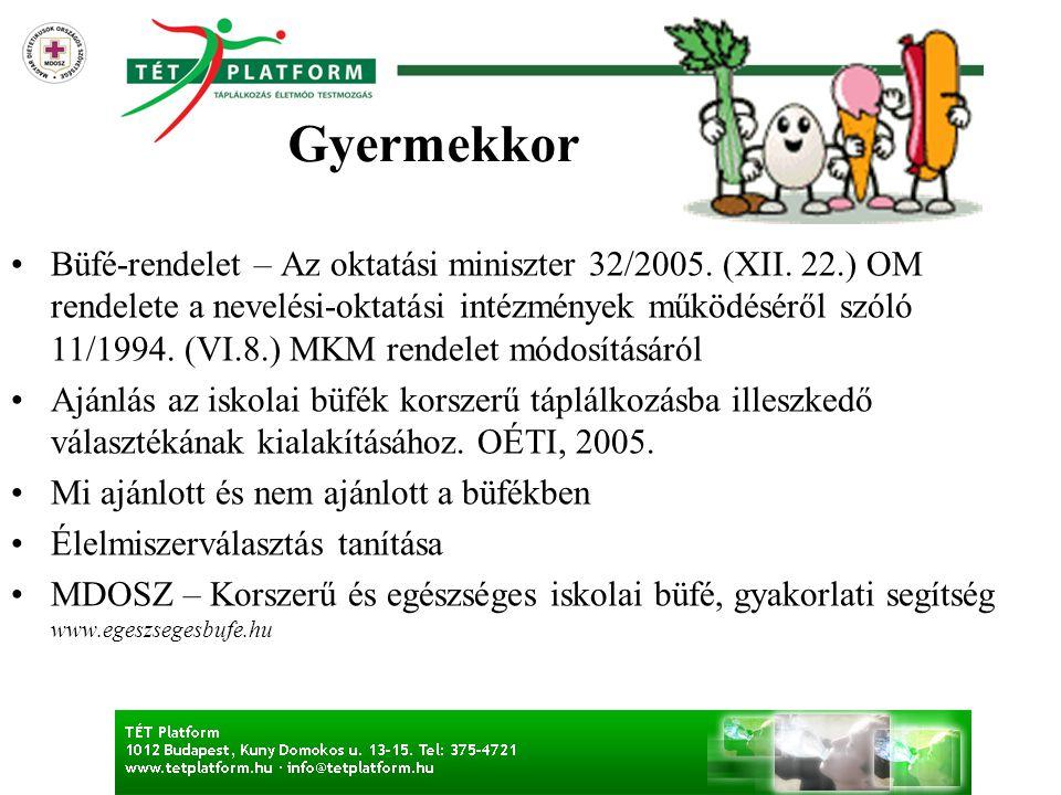 •Büfé-rendelet – Az oktatási miniszter 32/2005. (XII. 22.) OM rendelete a nevelési-oktatási intézmények működéséről szóló 11/1994. (VI.8.) MKM rendele
