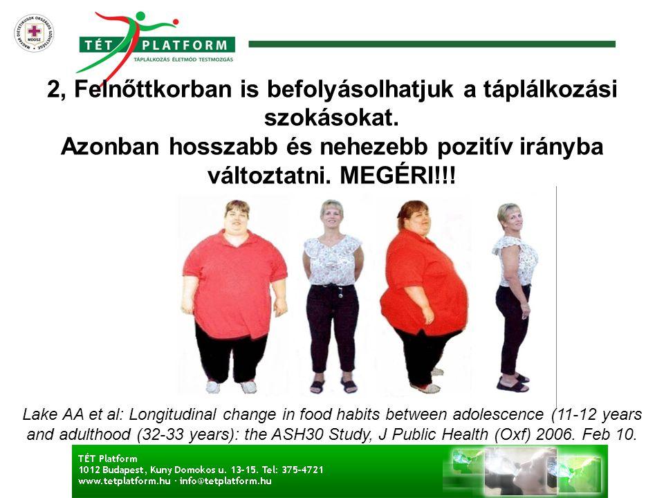 2, Felnőttkorban is befolyásolhatjuk a táplálkozási szokásokat. Azonban hosszabb és nehezebb pozitív irányba változtatni. MEGÉRI!!! Lake AA et al: Lon