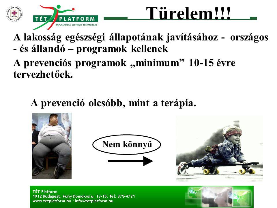 """Türelem!!! A lakosság egészségi állapotának javításához - országos - és állandó – programok kellenek A prevenciós programok """"minimum"""" 10-15 évre terve"""