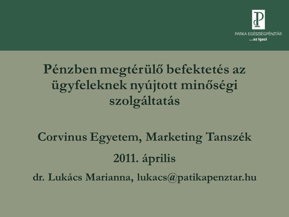 Pénzben megtérülő befektetés az ügyfeleknek nyújtott minőségi szolgáltatás Corvinus Egyetem, Marketing Tanszék 2011.