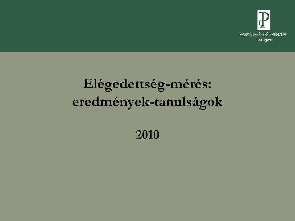 Elégedettség-mérés: eredmények-tanulságok 2010