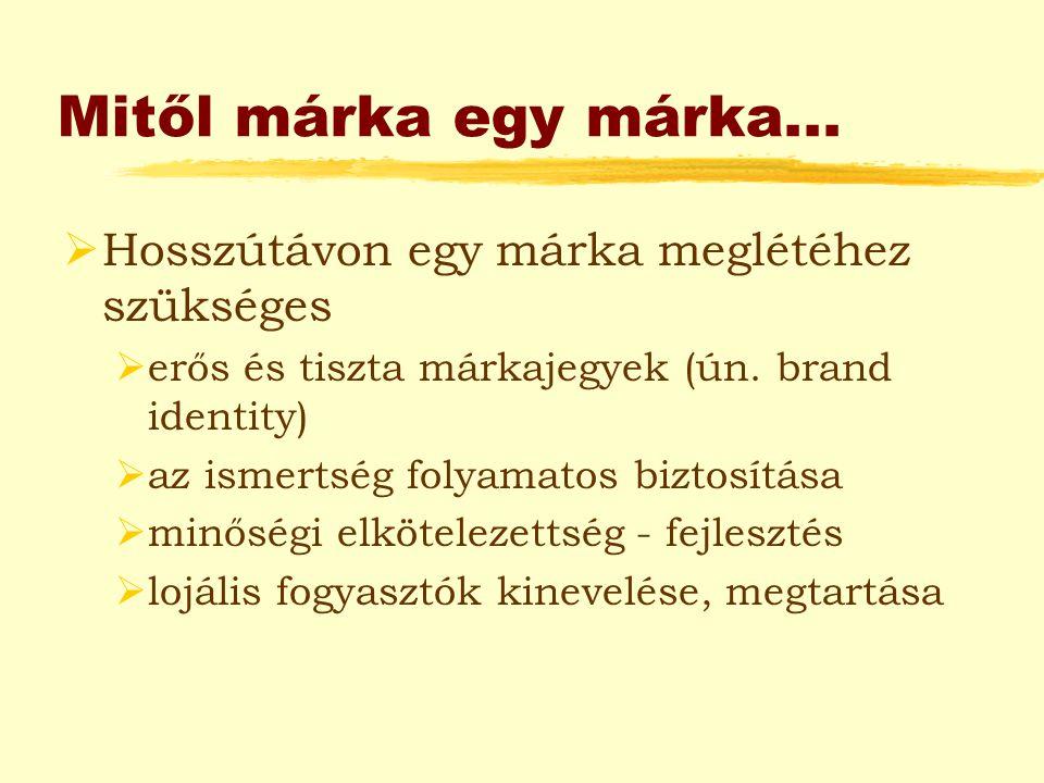"""Márka, mint érték…  Márkaérték (brand equity): a márka nevéhez és szimbólumaihoz kapcsolódó """"vagyon , mely értéket jelent a cég vagy a fogyasztók számára:  Márkanév ismertsége (awareness)  Márkahüség (loyalty)  Érzékelt minőség (perceived quality)  Márka asszociációk  Egyéb, pl."""