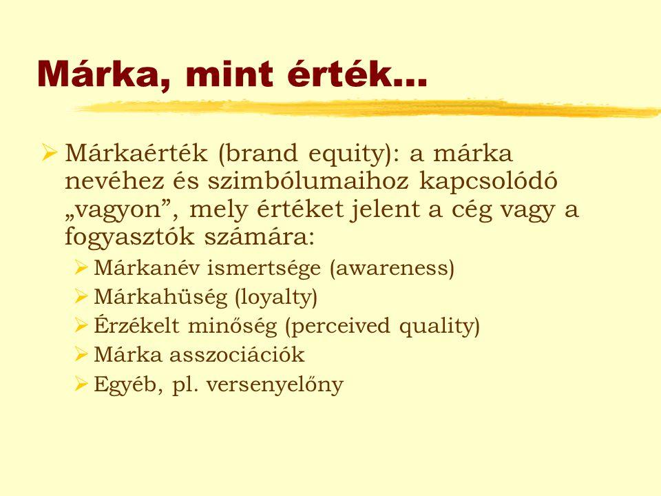 """Márka, mint érték…  Márkaérték (brand equity): a márka nevéhez és szimbólumaihoz kapcsolódó """"vagyon"""", mely értéket jelent a cég vagy a fogyasztók szá"""