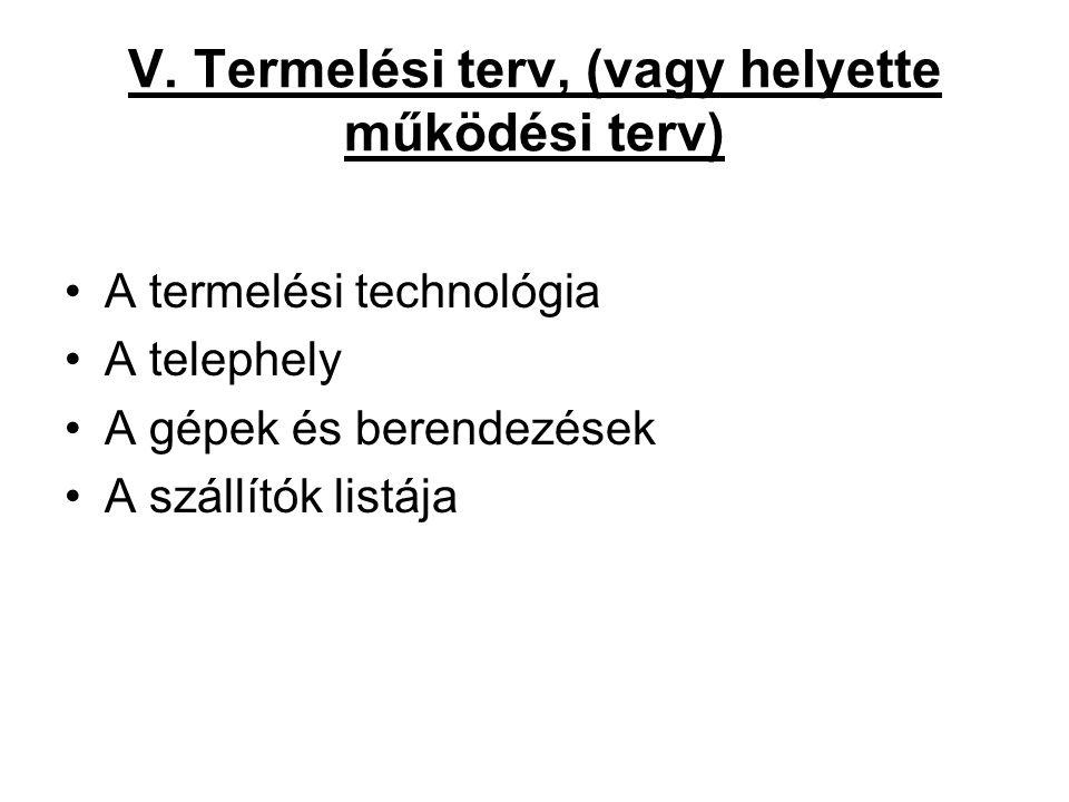 V. Termelési terv, (vagy helyette működési terv) •A termelési technológia •A telephely •A gépek és berendezések •A szállítók listája