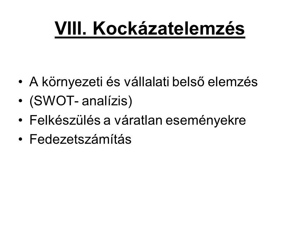 VIII. Kockázatelemzés •A környezeti és vállalati belső elemzés •(SWOT- analízis) •Felkészülés a váratlan eseményekre •Fedezetszámítás