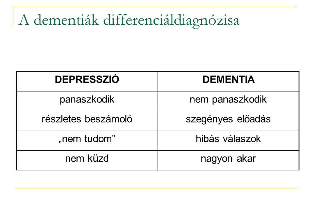 """A dementiák differenciáldiagnózisa DEPRESSZIÓDEMENTIA panaszkodiknem panaszkodik részletes beszámolószegényes előadás """"nem tudom""""hibás válaszok nem kü"""
