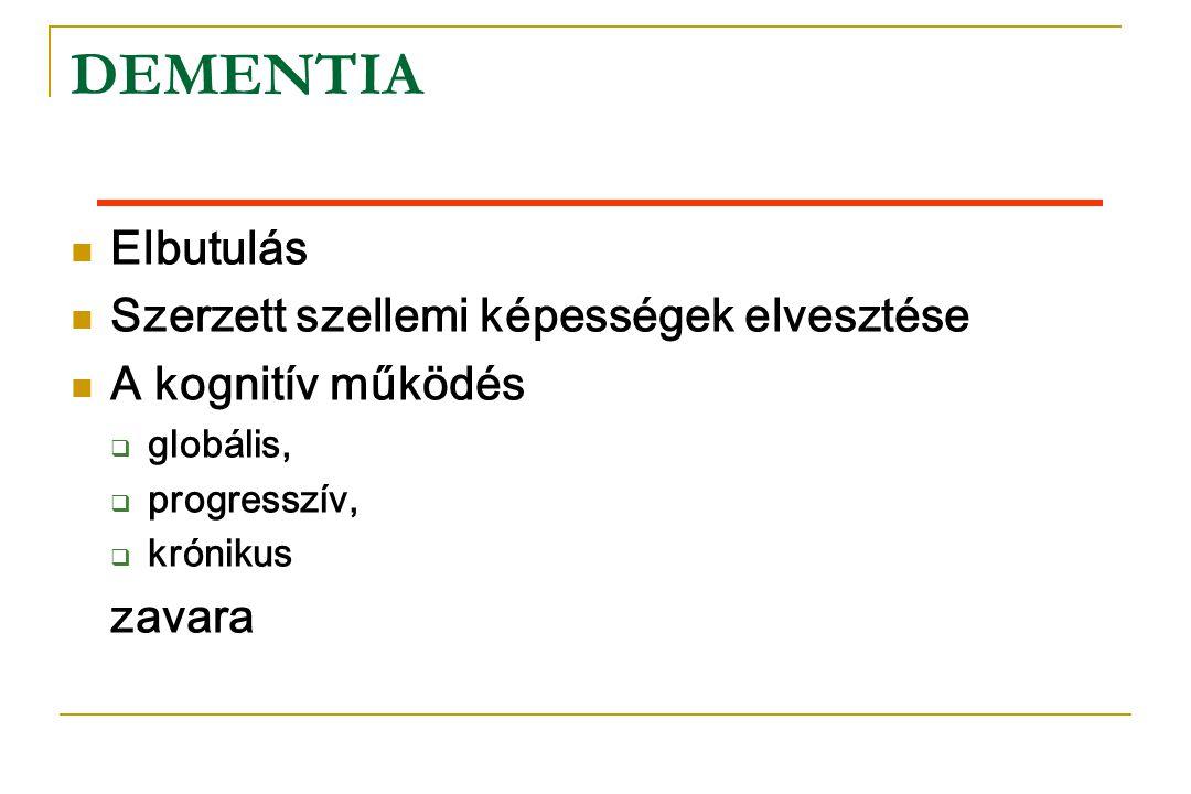 Kognitív funkciók exitus Nincs dementia dementia Degeneratív dementia