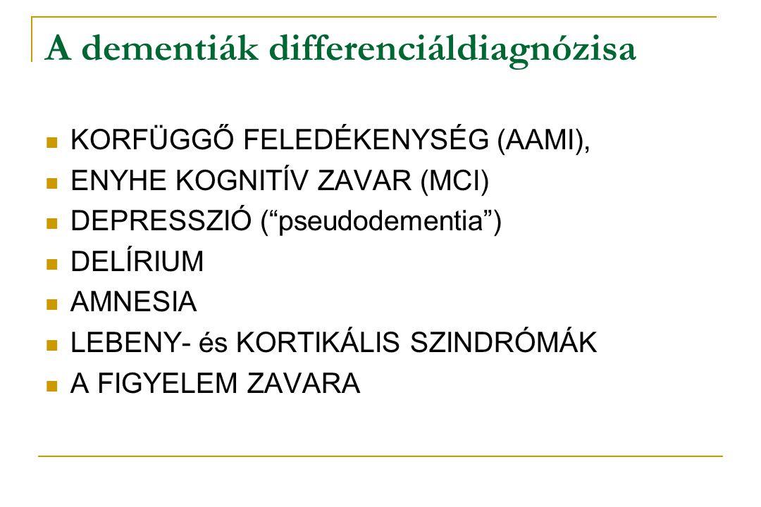 """A dementiák differenciáldiagnózisa  KORFÜGGŐ FELEDÉKENYSÉG (AAMI),  ENYHE KOGNITÍV ZAVAR (MCI)  DEPRESSZIÓ (""""pseudodementia"""")  DELÍRIUM  AMNESIA"""