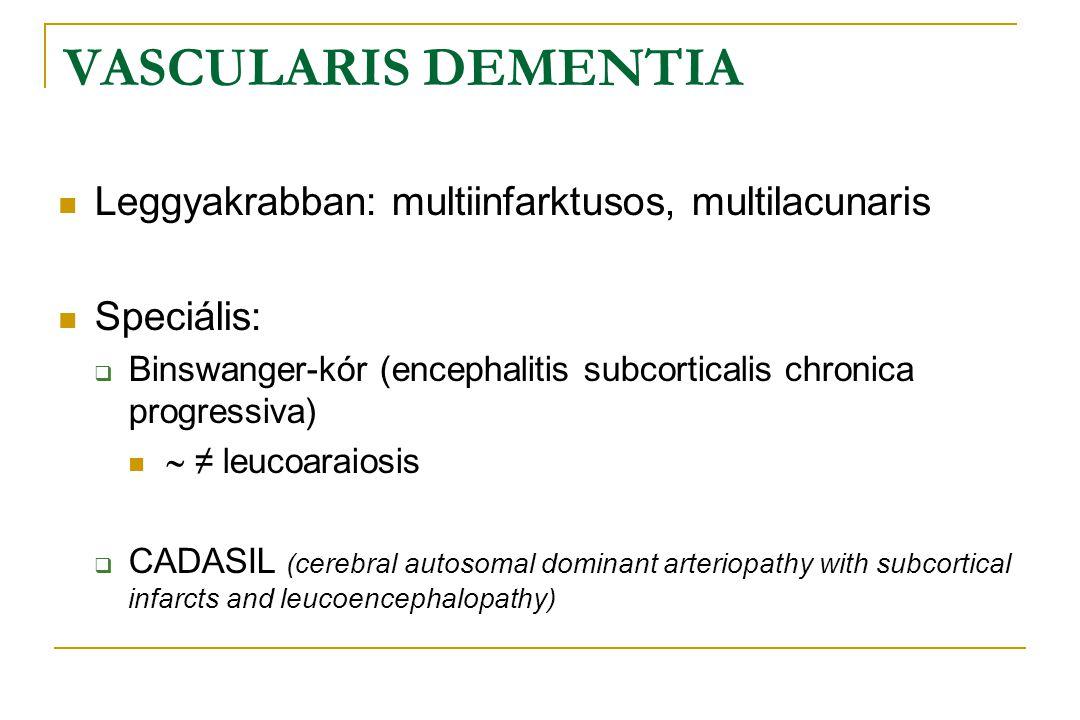 VASCULARIS DEMENTIA  Leggyakrabban: multiinfarktusos, multilacunaris  Speciális:  Binswanger-kór (encephalitis subcorticalis chronica progressiva)