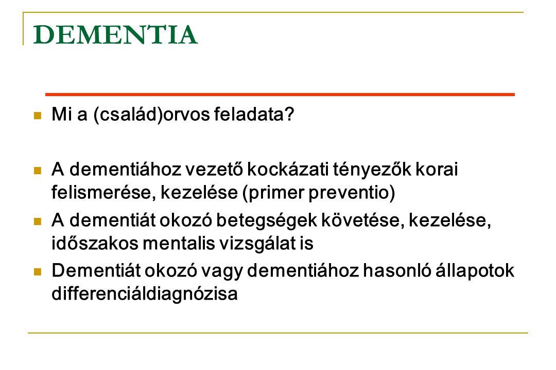 DEMENTIA  Mi a (család)orvos feladata?  A dementiához vezető kockázati tényezők korai felismerése, kezelése (primer preventio)  A dementiát okozó b