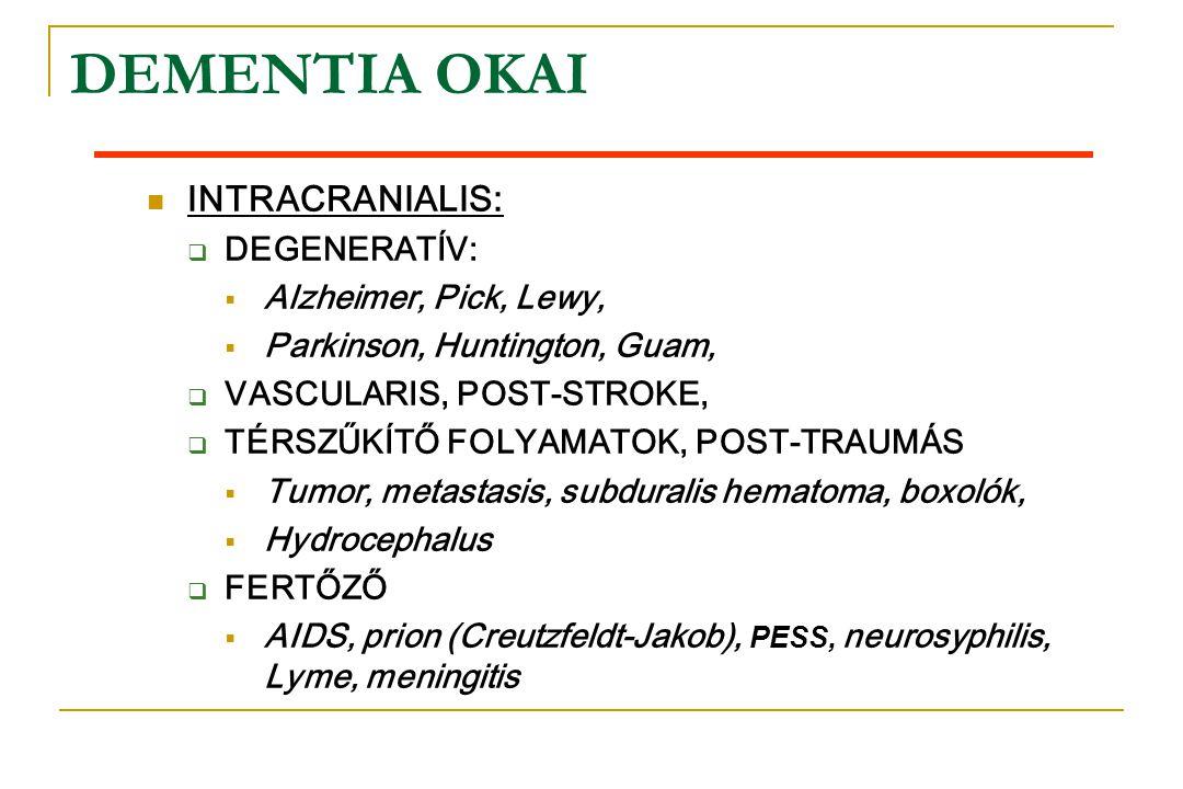 DEMENTIA OKAI  INTRACRANIALIS:  DEGENERATÍV:  Alzheimer, Pick, Lewy,  Parkinson, Huntington, Guam,  VASCULARIS, POST-STROKE,  TÉRSZŰKÍTŐ FOLYAMA