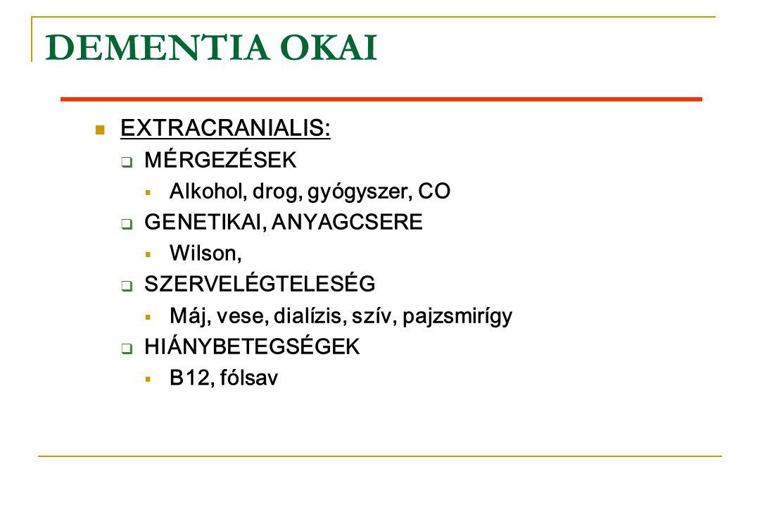 DEMENTIA OKAI  EXTRACRANIALIS:  MÉRGEZÉSEK  Alkohol, drog, gyógyszer, CO  GENETIKAI, ANYAGCSERE  Wilson,  SZERVELÉGTELESÉG  Máj, vese, dialízis