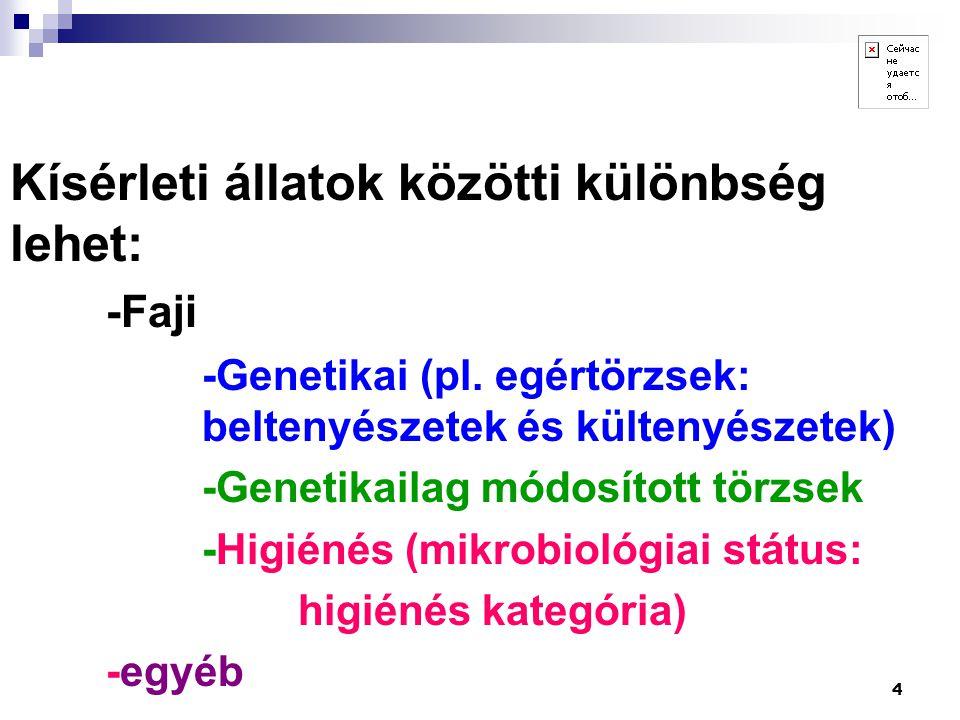 4 Kísérleti állatok közötti különbség lehet: -Faji -Genetikai (pl. egértörzsek: beltenyészetek és kültenyészetek) -Genetikailag módosított törzsek -Hi