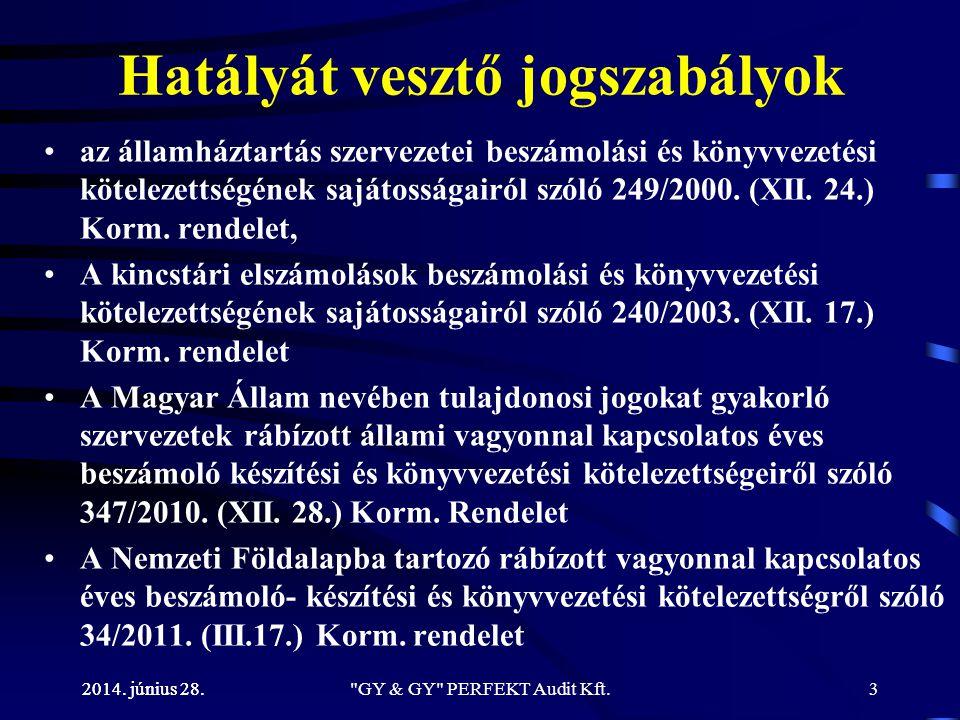2014. június 28. Hatályát vesztő jogszabályok •az államháztartás szervezetei beszámolási és könyvvezetési kötelezettségének sajátosságairól szóló 249/