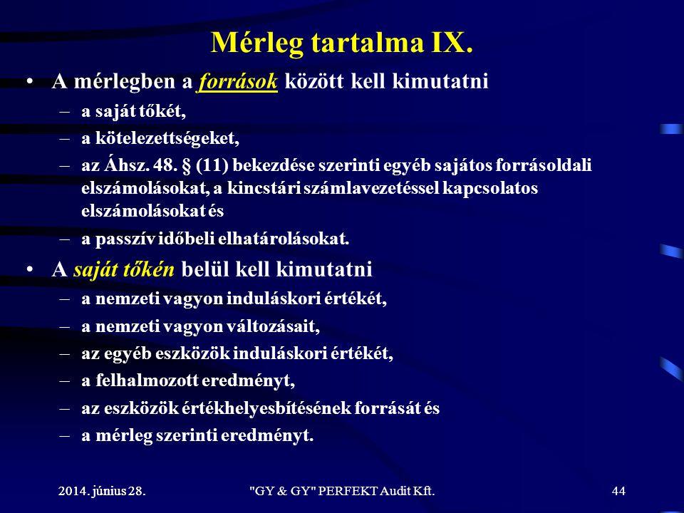 2014. június 28. Mérleg tartalma IX. •A mérlegben a források között kell kimutatni –a saját tőkét, –a kötelezettségeket, –az Áhsz. 48. § (11) bekezdés