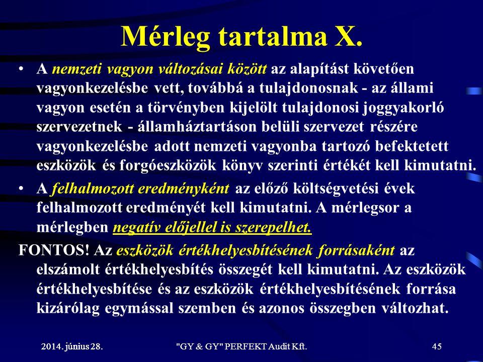 2014. június 28. Mérleg tartalma X. •A nemzeti vagyon változásai között az alapítást követően vagyonkezelésbe vett, továbbá a tulajdonosnak - az állam