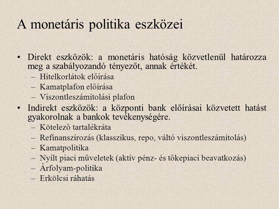 A monetáris politika eszközei •Direkt eszközök: a monetáris hatóság közvetlenül határozza meg a szabályozandó tényezőt, annak értékét. –Hitelkorlátok