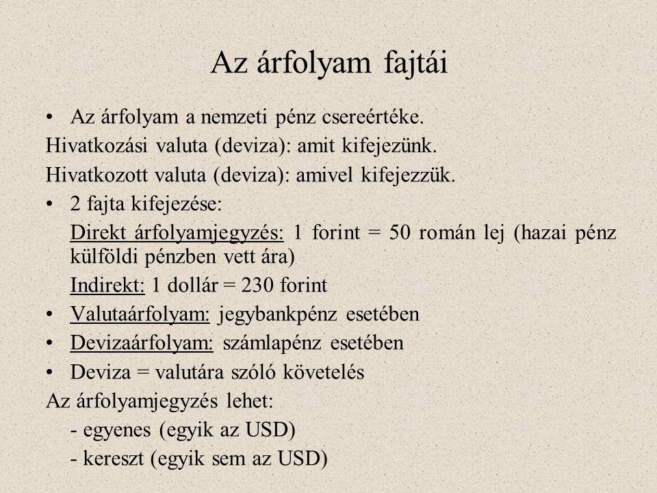 Az árfolyam fajtái •Az árfolyam a nemzeti pénz csereértéke. Hivatkozási valuta (deviza): amit kifejezünk. Hivatkozott valuta (deviza): amivel kifejezz